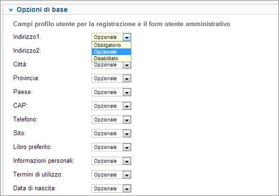 user profile plugin - opzioni di base